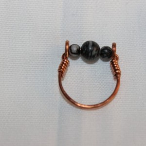 Silkstone Ring, Copper Ring, Wire Wrapped Ring, Hammered Copper Ring, Root Chakra,  US Size 5.5