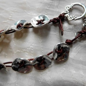 Brown leather and silver tone buttons bracelet and earring set design.  #BES00114