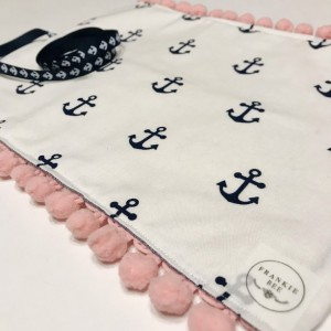 Navy White & Denim Anchor Makeup Brush Roll Case with Pink Pom Pom Trim