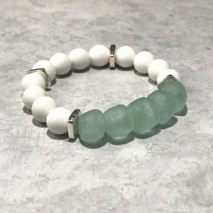 The Olivia | handmade bead bracelet, women's bracelets, aqua bracelet, African sea glass, matte white agate, beach jewelry, Gifts for Her