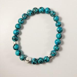 The Jax | handmade beaded stretch bracelet, howlite focal bead, turquoise, silver Mykonos ceramic, men's / unisex jewelry, Gifts for Him