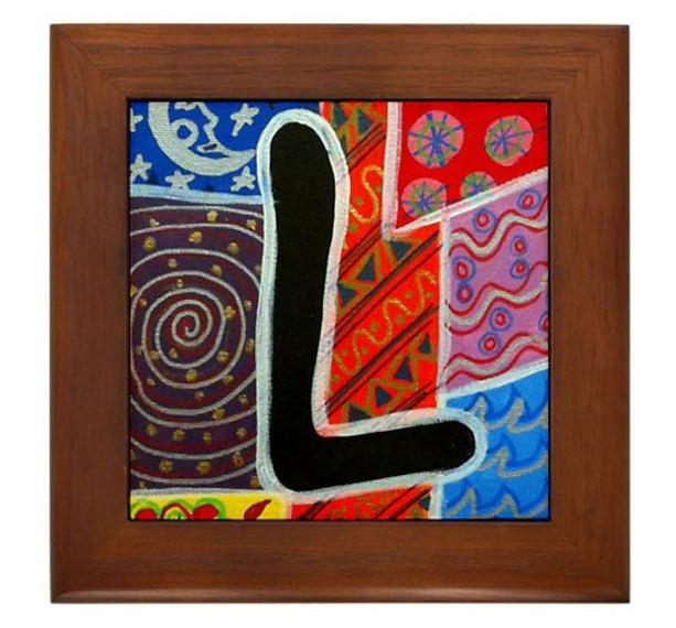 """Folk Art - Letter """"L"""" - FRAMED TILE By Artist A.V.Aposte"""