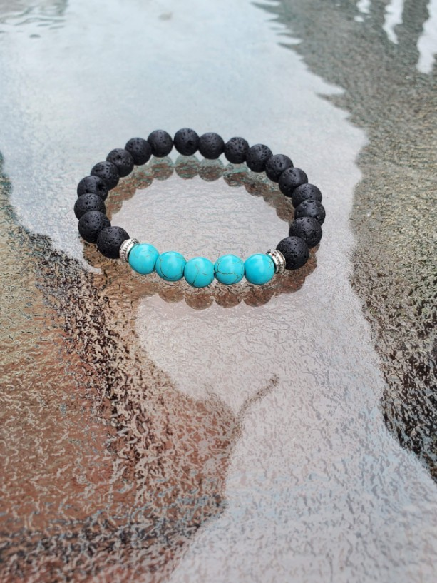 Blue Turquoise Lava Stone Grounding Bracelet, Meditation Anxiety Stress Relief Bracelet, Women Chakra Balance Beads, Buddha Jewelry