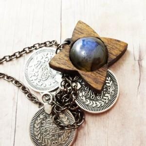 Walnut and Labradorite Kuchi Coin Necklace