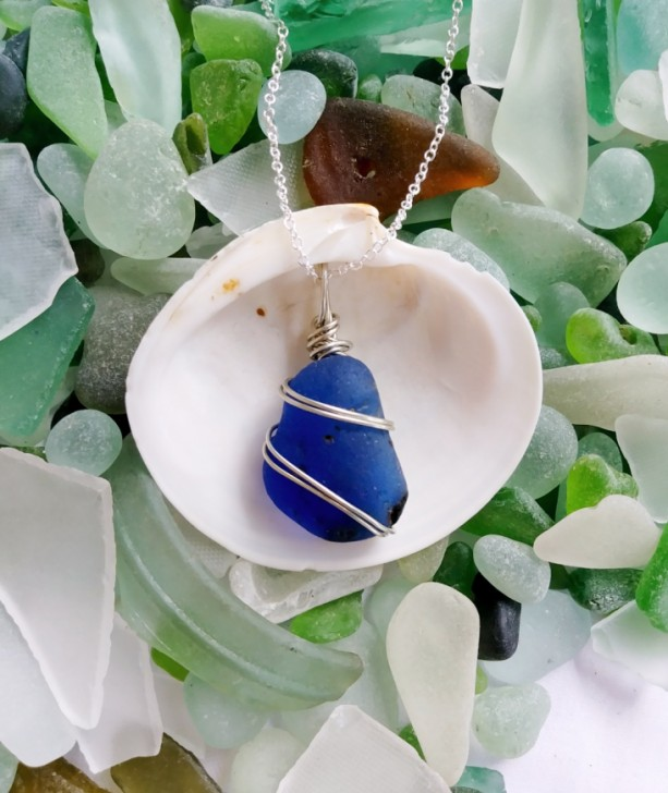 Cobalt blue sea glass necklace, blue sea glass jewelry, blue sea glass pendant, blue necklace, cobalt blue sea glass, gift for her