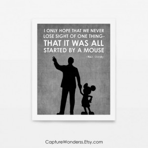 Walt Disney Quote Art Print | It Was All Started By A Mouse | Partners Statue | Disneyland Poster | Nursery Wall Print | Children's Art