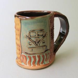 Hippie Bus Pottery Mug