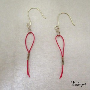 Henriette earrings - red & gold - upcycled harp strings