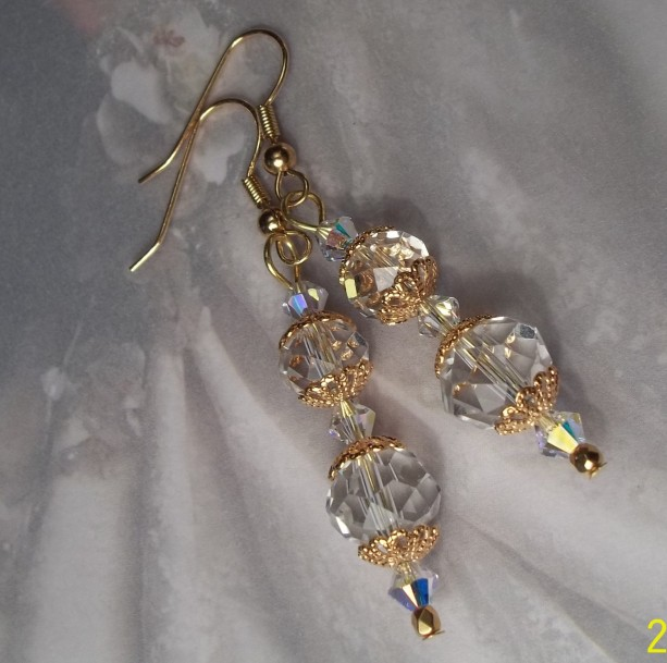 Catherine Crystal Wedding Earrings Dangle Bridal Earrings Gold Plated Filigree Swarovski Czech Crystal Bridesmaid Earrings 24k Gold Crystals