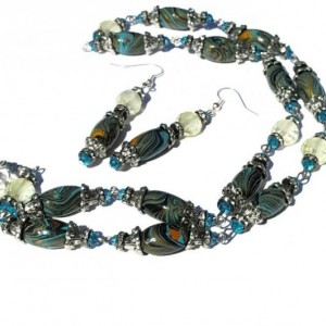 Blue Gold Turquoise Handmade clay beads with accents and matching earrings