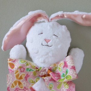 White Minky Bunny Rabbit Security Blanket, Lovey Blanket, Satin, Baby Blanket, Stuffed Animal, Baby Toy - Customize Color