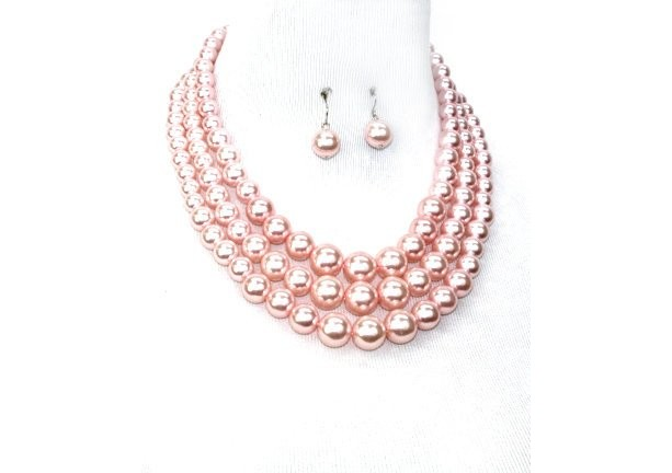 Pink Pearl Multi strand Necklace Set