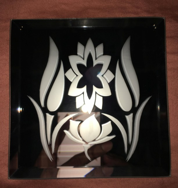 Flowers Logo Mirror Glass Etching