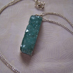 Rough Cut Quartz Drusy Pendant Electroplate
