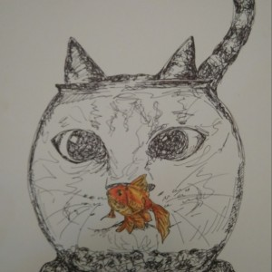Cat Staring in Fishbowl Illustration