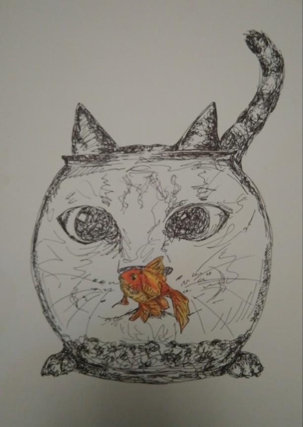 Cat Staring in Fishbowl Illustration