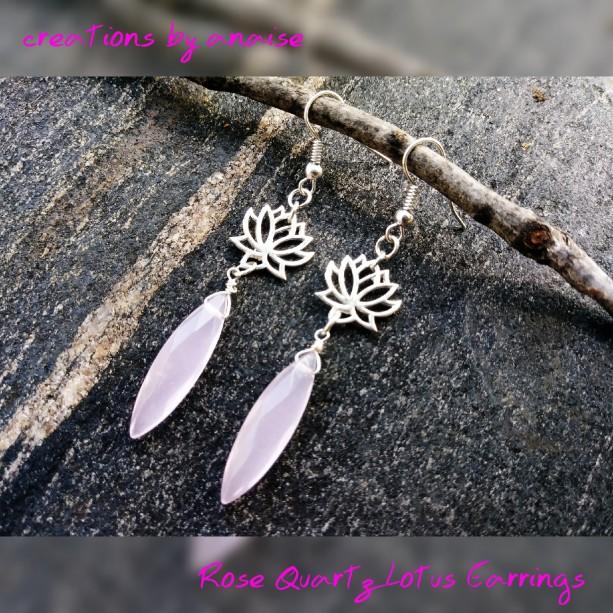Sterling Silver & Rose Quartz Lotus Earrings