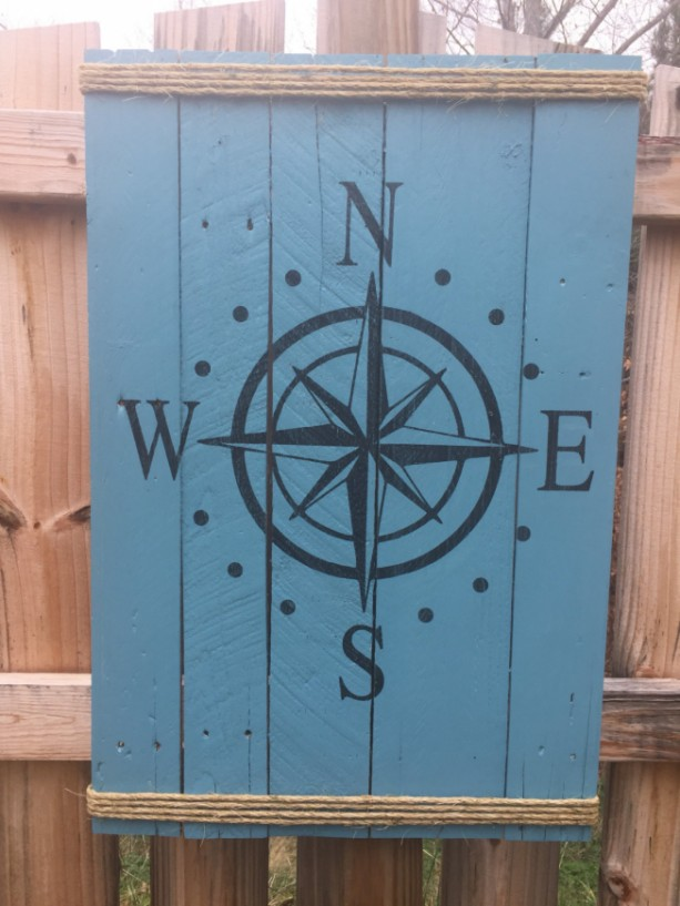 Large wood Compass sign/wall hanging
