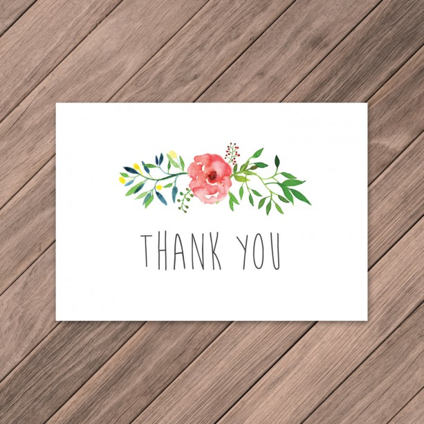 Watercolor Wreath Thank You, Thank You, Wedding Thank Yous, DIY Thank You, Instant Download, Rustic Cards, Whimsical Thank You