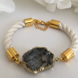 Nautical White Rope Bracelet with Druzy Agate Stone Connector