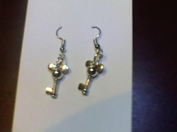 Homemade Key Earrings Silver tone.
