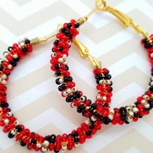 Aurora Red Beaded Hoop Earrings, Black Gold Wire Wrap Earrings, Birthday Anniversary Presents for Girlfriends Lovers Wives Best Friend