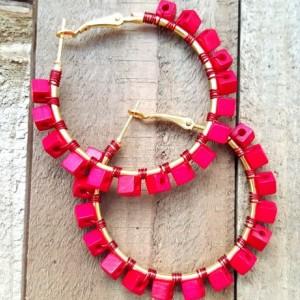 Red Wood Beaded Hoop Earrings, Aurora Red Gold Geometric Wood Earrings, Sorority Inspired Earrings, Gift Idea for Her Birthday