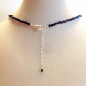 Black Choker Necklace, Handmade Beaded Choker, Minimalist Thin Black Collar Necklace, Dainty Black Seed Bead Necklace, Teen Choker Necklace