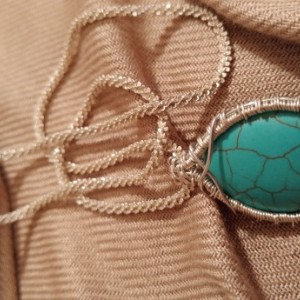 Silver and turquoise framed pendant