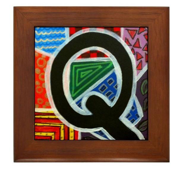 """Folk Art - Letter """"Q"""" - FRAMED TILE By Artist A.V.Aposte"""