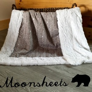 Woodgrain Minky Baby Blanket Toddler Gray Woodland