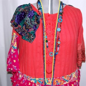 plus size dress 1X 2X rusty reds lagenlook asymmetrical romantic cottage chic restyled eco clothing altered refashioned upcycled restyled boho hippie