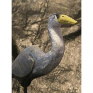 Hand Carved and Painted Wooden Bird - Great Blue Heron