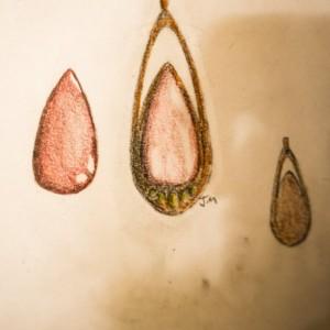 Bloodstone Tear Drop Copper Brass Pendant Necklace Handmade