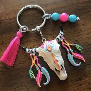 Boho Keychain, Bohemian Key Ring, Keyring, Bag Clip, Boho Skull, Gift For Her, Ready To Ship, Rearview Mirror Charm