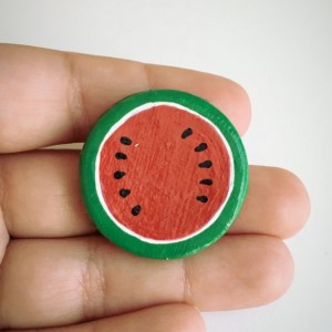 Handmade Brooch Watermelon Pin Clay Fruit Slice Artisan Jewelry Accessory