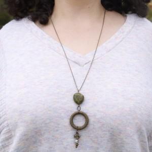 Olive Green Pendant Necklace, Round Pendant Necklace, Dangle Necklace, Green Charm Necklace