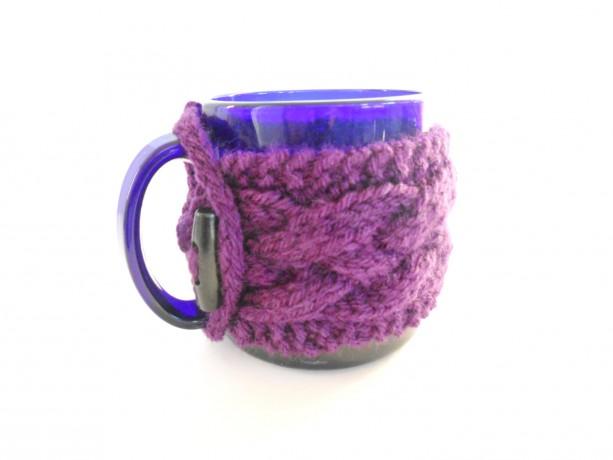 Coffee Mug Cozy - Knit Cabled Cozy - Stocking Stuffer - Teacher Present - Coffee Mug Sweater - Coffee Lover Gift - Tea Mug Cozy