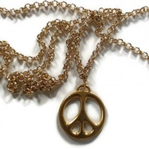 "Gold Peace Charm Necklace - Long 30"" Gold-Filled Layering Necklace"