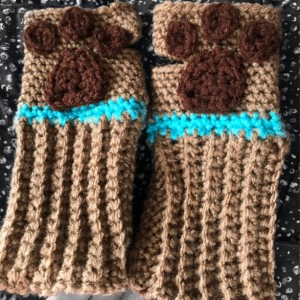 Scooby Doo paw print crochet  Finger-less Gloves you choose size