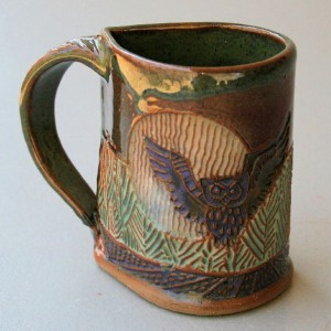 Owl Pottery Mug Coffee Cup Handmade Owl In Flight Microwave and Dishwasher Safe