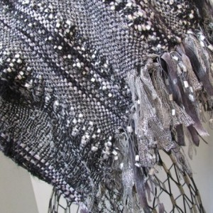 Black silver wrap shawl