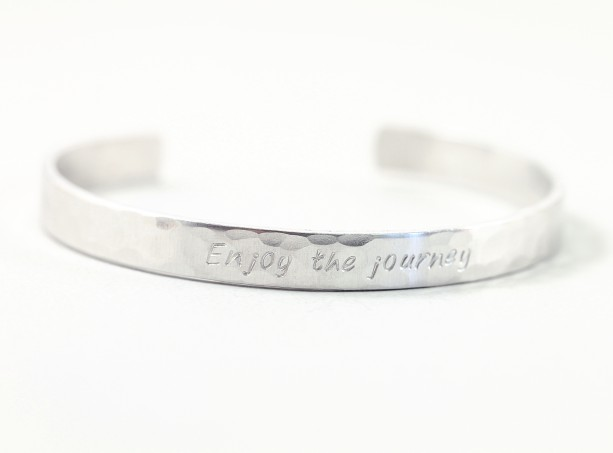 Engraved Bracelet Sterling Silver Personalized Skinny Cuff Custom Made In Usa 1 4