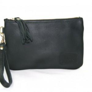 Black Leather Wristlet with Tassel - Zipper Wristlet in Black