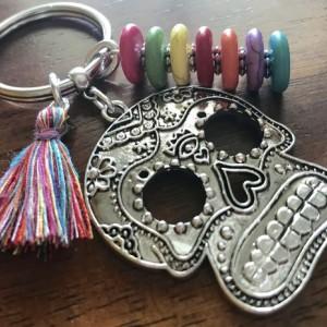Day of the Dead Keychain, Sugar Skull Keychain, Skull Keyring, DDLM, Dia de Los Muertos, Calavera, Sugar Skull Purse Charm, Skull Bag Charm