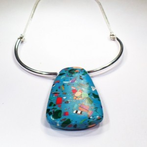 "Art Deco Choker Necklace with Silver Chain - Blue Vintage Bead - Adjustable Length 15""-18"" - Retro Multicolored Pendant"