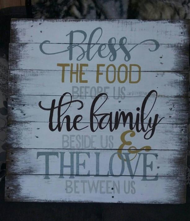 Bless the food before us sign, dining room blessing, rustic kitchen wood sign, pallet large bless the food family and love prayer decor