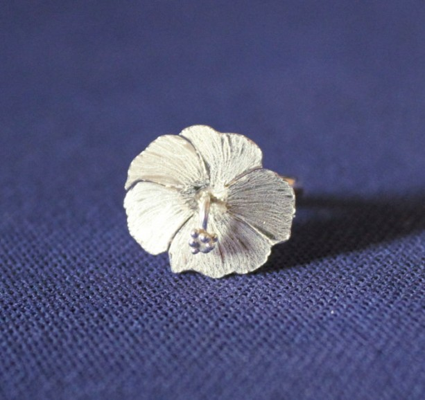 Sterling Silver Hibiscus Ring, Hibiscus Ring, Sterling Ring, Flower Ring, Sterling Flower Ring, Ring