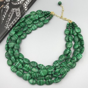 Chunky Green Malachite Necklace, Green Necklace, Green Beaded Necklace, Multi Strand Green Statement Necklace, Turquoise Jewelry Necklace