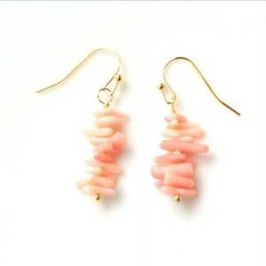 Natural Pink Coral Bar Earrings, Pink Coral Path, Pink Coral Earrings